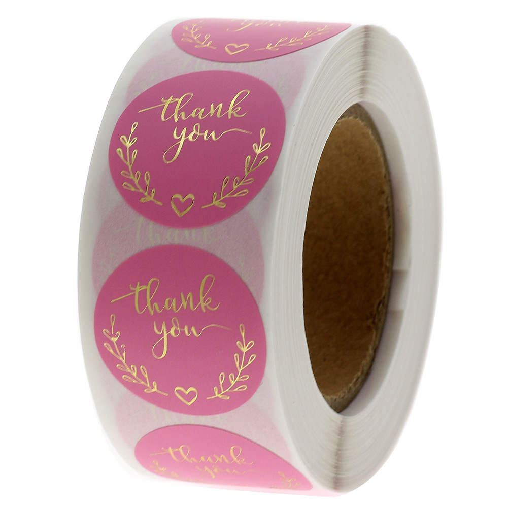Wreath Thank You Stickers Gold Foil Seal Labels 500pcs 1 Inch Pink Wedding Party Favors Envelope Supplies Stationery Stickers