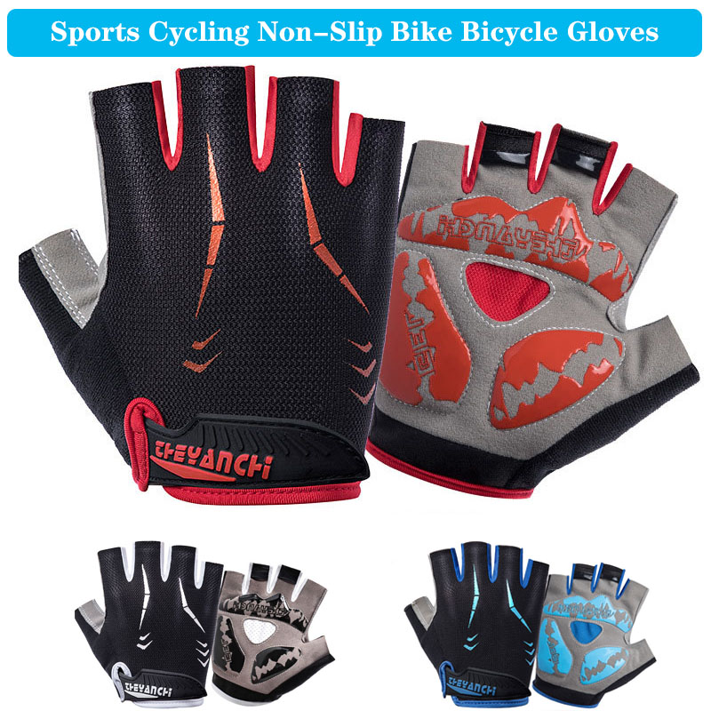 Cycling Non-Slip Breathable Bike Bicycle Gloves Sports Half Finger Summer Riding Short Men Women Bike Bicycle Anti-sweat Gloves