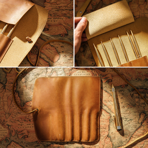 Image 3 - 100% Genuine Leather Pencil Bag Storage Pouch Rollup Pen bag Organizer Wrap Bag Vintage Retro Creative Stationery Product