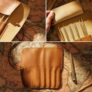 Image 3 - 100% en cuir véritable sac à crayons pochette de rangement Rollup stylo sac organisateur Wrap sac Vintage rétro créatif papeterie produit