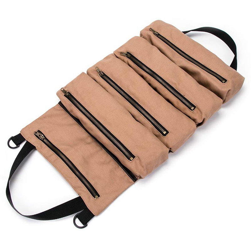 EASY-Super Tool Roll, Large Wrench Roll, Big Tool Roll Up Bag, Canvas Tool Organizer Bucket, Tool Roll Up Pouch, Handy Small Too