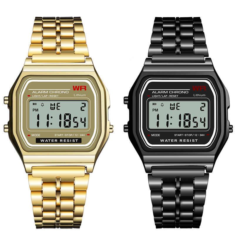 ผู้หญิงผู้ชายUnisexนาฬิกาทองเงินสีดำVintage LEDดิจิตอลกีฬานาฬิกาข้อมือทหารอิเล็กทรอนิกส์ดิจิตอลปัจจุบันของขวัญชาย