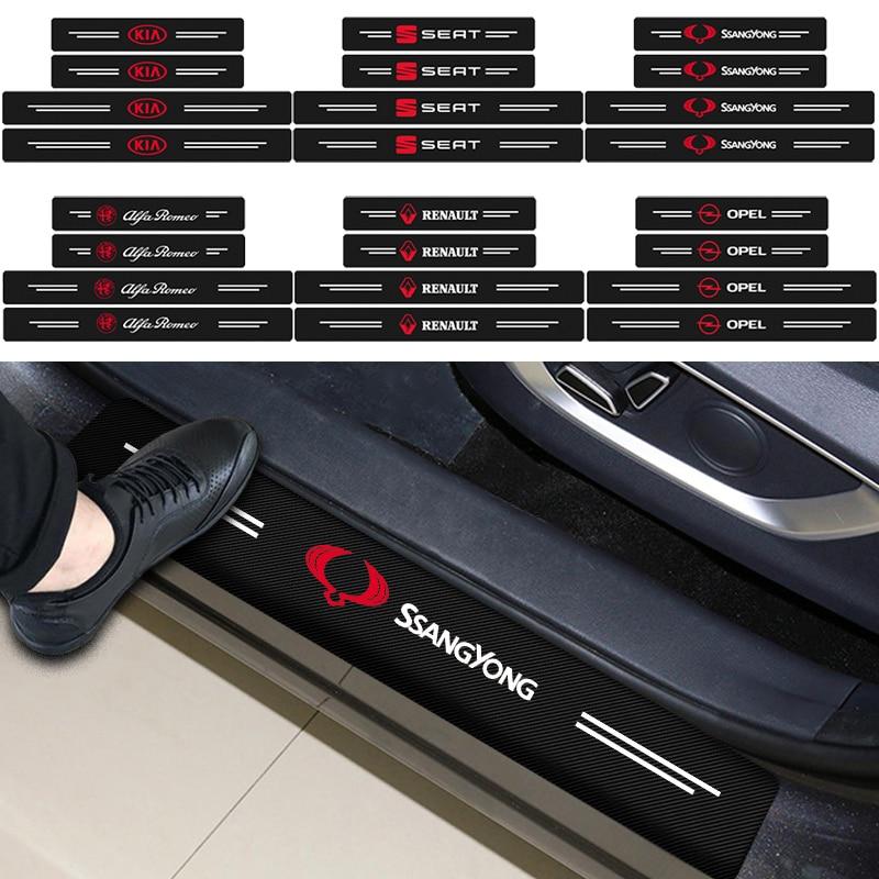 4 Uds coche Umbral de puerta Protector de fibra de carbono de Gadgets para Peugeot 206, 207, 307, 3008, 2008, 308, 407, 408, 508, 301, 208 bienes para automóvil
