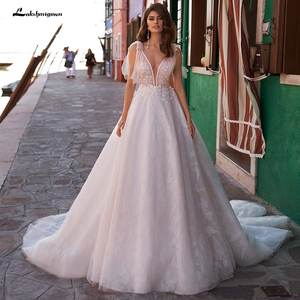 Lakshmigown Bride Dress Beading Lace Applique A-Line Sleeveless V-Neck Backless Chapel-Train