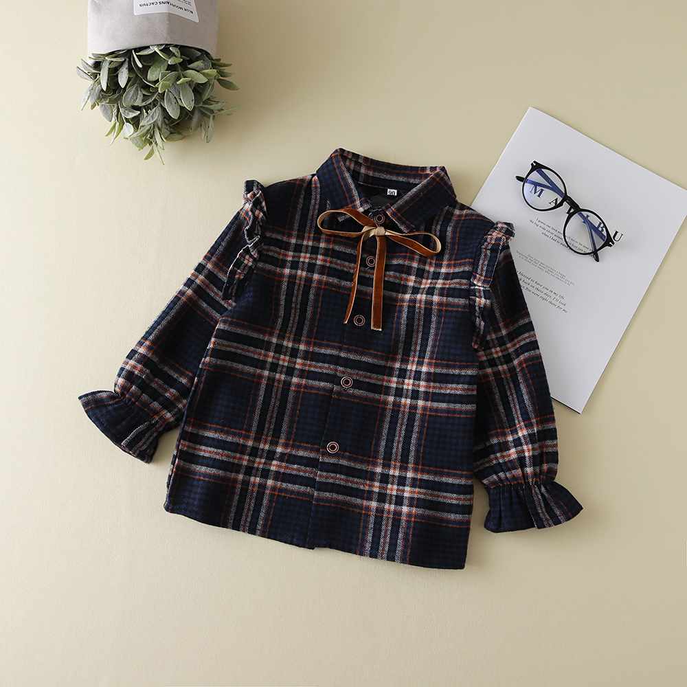 Plaids Checks Blouse Baby Kids Boys Girls Long Sleeve Striped Shirt Clothes Outfit