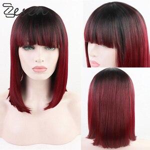 Perruques Bob Lace Front Wig synthétiques-Zesen   Perruque frontale à dentelle synthétique résistante à la chaleur, cheveux courts et lisses bordeaux pour frange