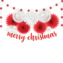 Christmas Decorations for Home Glitter Red Merry Christmas Banner Snowflake Tissue Paper Fans Garland very merry paper christmas