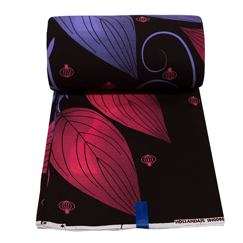 African Fabric Pure Cotton Purple And Red Leaf Print Black Fabric Pagnes Africain 6Yards\lot