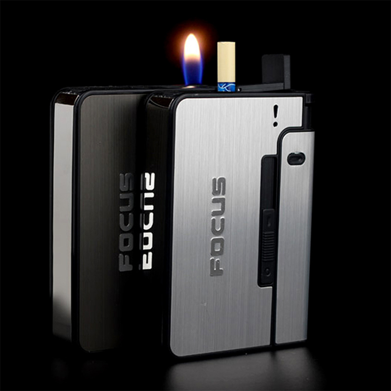 Automatic Cigarette Case 10pcs Cigarette Capacity Can Mount Lighter Metal Cigarette Box for Men Smoking Nice Gift Dropshipping 1