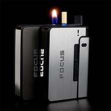Автоматическая сигарета чехол 10 шт. сигарет Ёмкость можно установить на Зажигалка металлический портсигар для Для мужчин курение хороший п...
