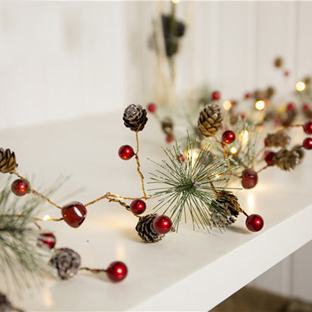 Red Berry Xmas Garland Lights LED Copper Fairy Lights Pinecone String Lights For Christmas Tree Holiday Home Indoor Decoration