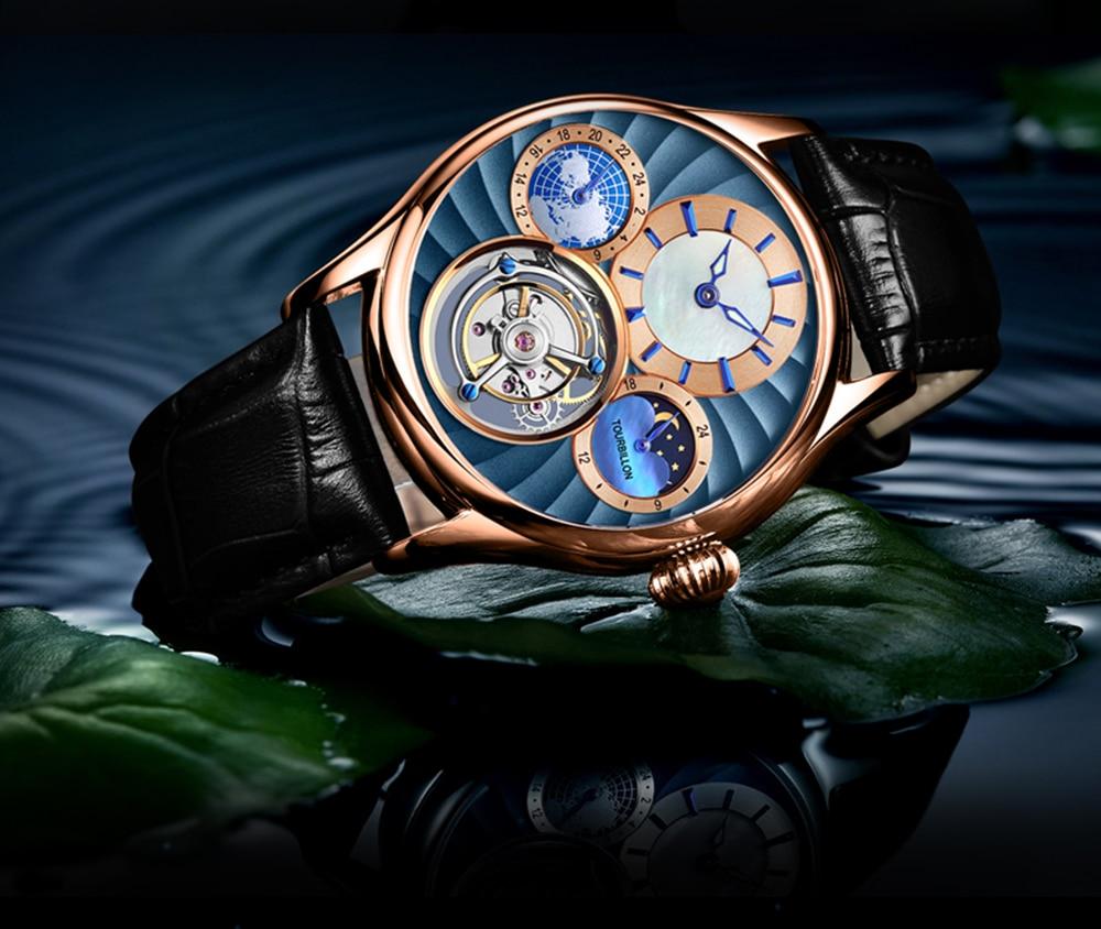 Original Tourbillon watch GUANQIN 2019 NEW clock men waterproof mechanical Sapphire leather top brand luxury Relogio Masculino 22