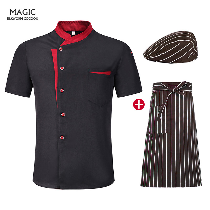 Summer Kitchen Work Uniform Cook Clothes Men Women Short Sleeve Breathable Chef Jacket Catering Restaurant For Bakery Chefs Hat