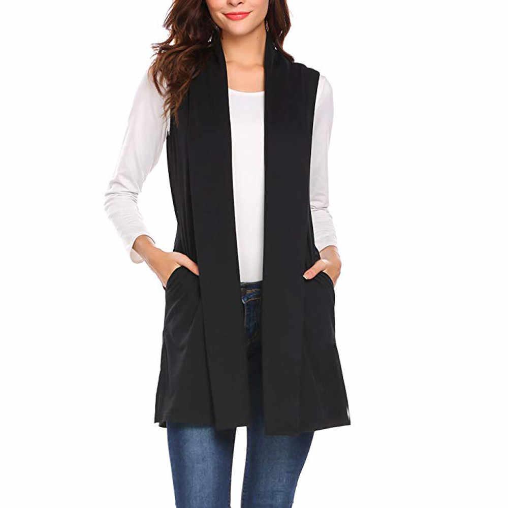 가을 여성 세련된 우아한 사무실 레이디 포켓 코트 민소매 조끼 겉옷 캐주얼 브랜드 WaistCoat Colete Feminino