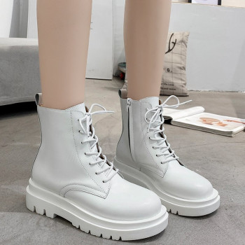 COOTELILI Women Ankle Boots Platform Round Toe Lace Up 5cm Heel Boots For Woman Zip Women Shoes Botas White Black Basic 35-40 winter boots ankle zip women shoes martin boots fashion casual shoes woman square heel med 3cm 5cm round toe platform shoes