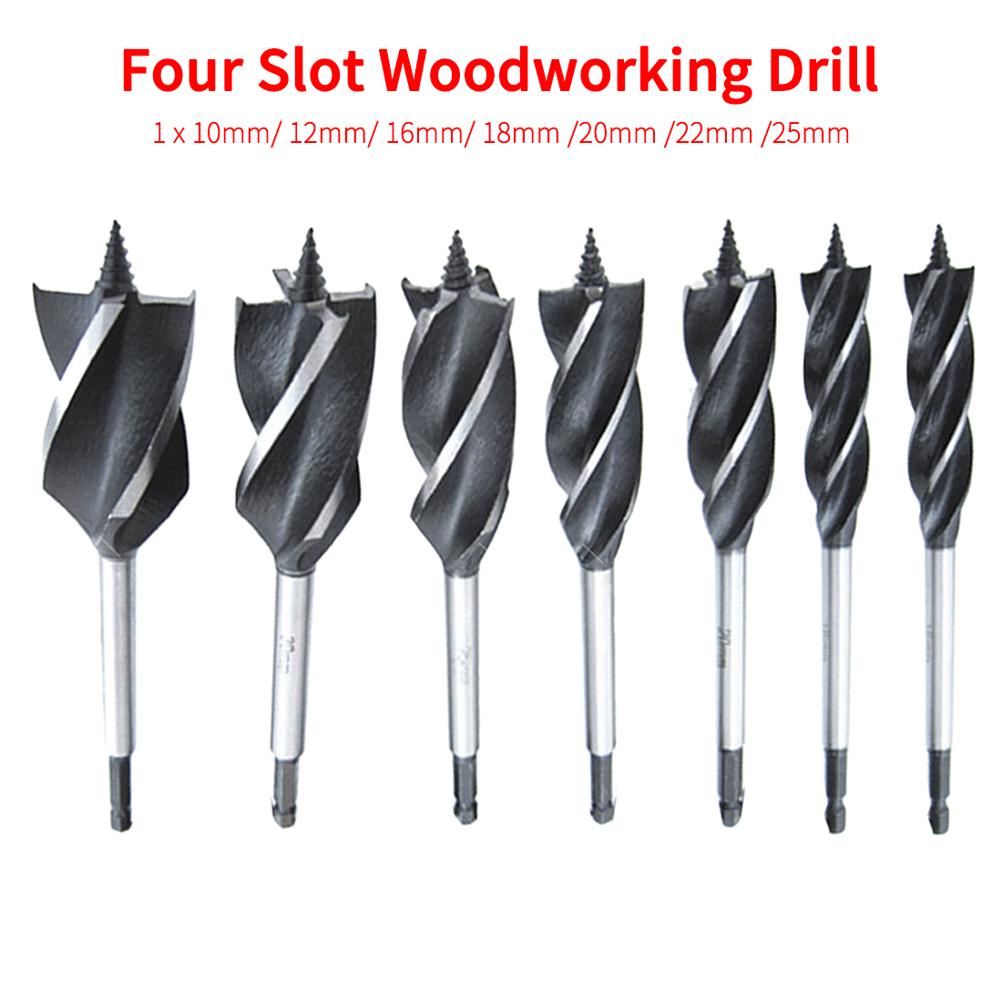 10mm-25mm Four-slot Four-blade Woodworking Drill Bit Deep Hole Twist Drill Wood Door Lock Hole Opener Hex Shank