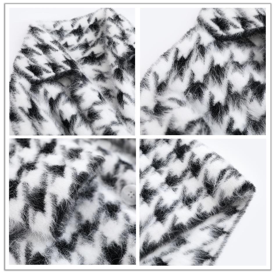 BAHTLEE Women Angora Long Coat Houndstooth Pattern Sweater Winter Wool Knitted Cardigans Jumper Turn Down Collar Long Sleeves 13