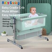 Детская блестящая детская кроватка, переносная портативная кроватка для новорожденных, детская кровать для путешествий, игровая кровать с москитной сеткой, спальная кровать Tiktok