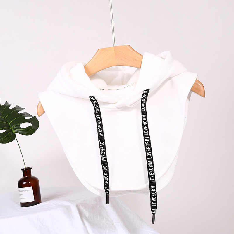 Unisex Winter Drawstring Hooded False Collar Zipper Half Shirt Decorative Dickey