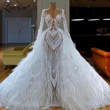 Vestido de noche de lujo con ilusión de plumas para mujer, traje de fiesta de dos piezas, hecho a medida, blanco, árabe, Oriente Medio, Dubái, 2020