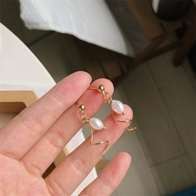 Japanese Korean ornaments simple temperament S shape sweet inlaid pearl ear nail clip with exquisite small for women