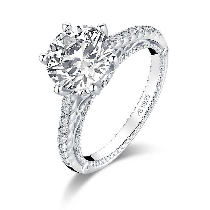 AINUOSHI Мода 925 серебро 9 мм большой круглый вырез обручальное кольцо с камнем имитация бриллианта Свадьба 2.65ct свадебные ювелирные кольца