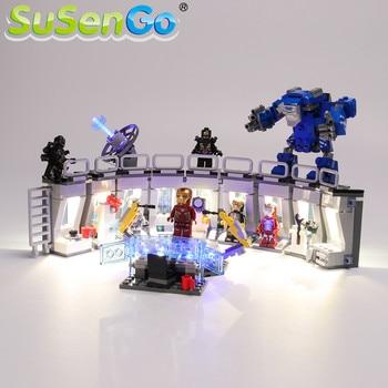 SuSenGo LED Light Set For 76125 Iron Man Hall Armor Blocks Lighting Compatible with 07121 34091 11260 NO Model