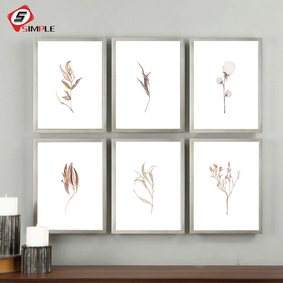 Farmhouse Botanical Dry Plant Flower Leaf Wall Art Canvas Painting Nordic Posters And Prints Wall Picture For Living Room Decor image