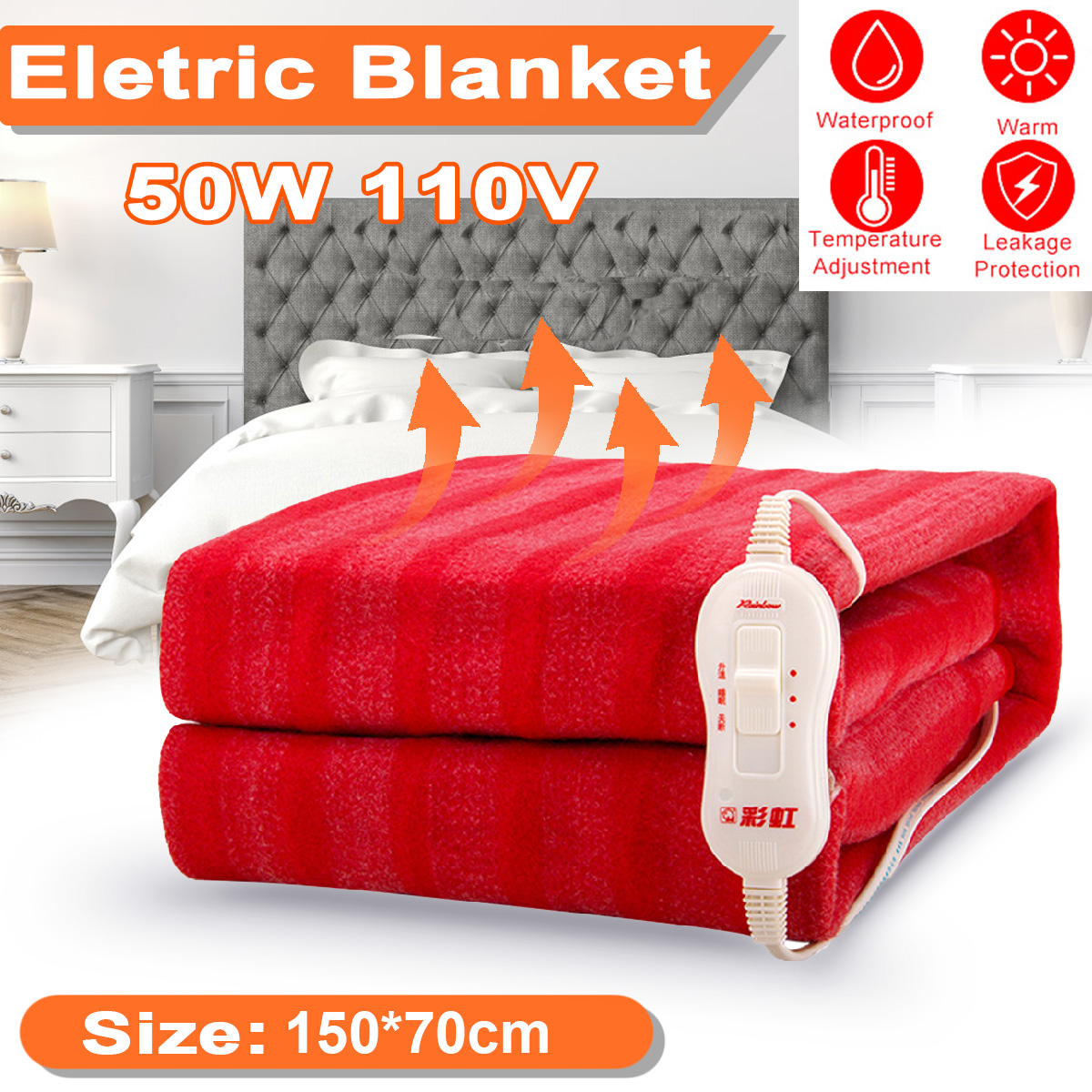 150x70cm 110V Winter Electric Blanket Heater Single Body Warmer Heated Blanket Thermostat Electric Heating Blanket Heated Mat