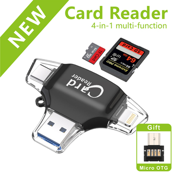 4 in 1 Type-c/Micro USB/USB 2.0 Memory Card Reader Micro SD Card Reader for Android Ipad/iphone pro 11 6 8 X 7plus 6s OTG reader