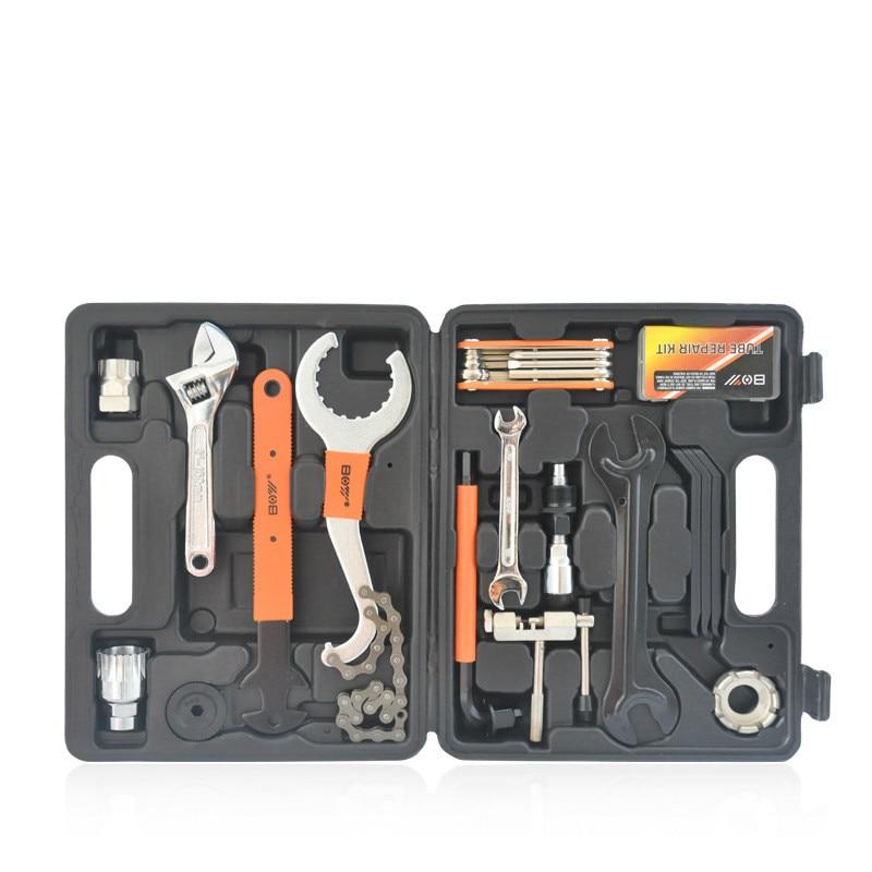 15pcs Repair Set Multiful Bicycle Tools Kit Portable Bike Repair Tool Box Set Hex Key Wrench Remover Crank Puller Cycling Tools