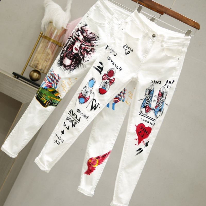 White Cowboy Skinny Pants Female Summer Tight-Fit 2019 New Style Printed Fashion Slim Fit High-waisted Korean-style Pencil Pants