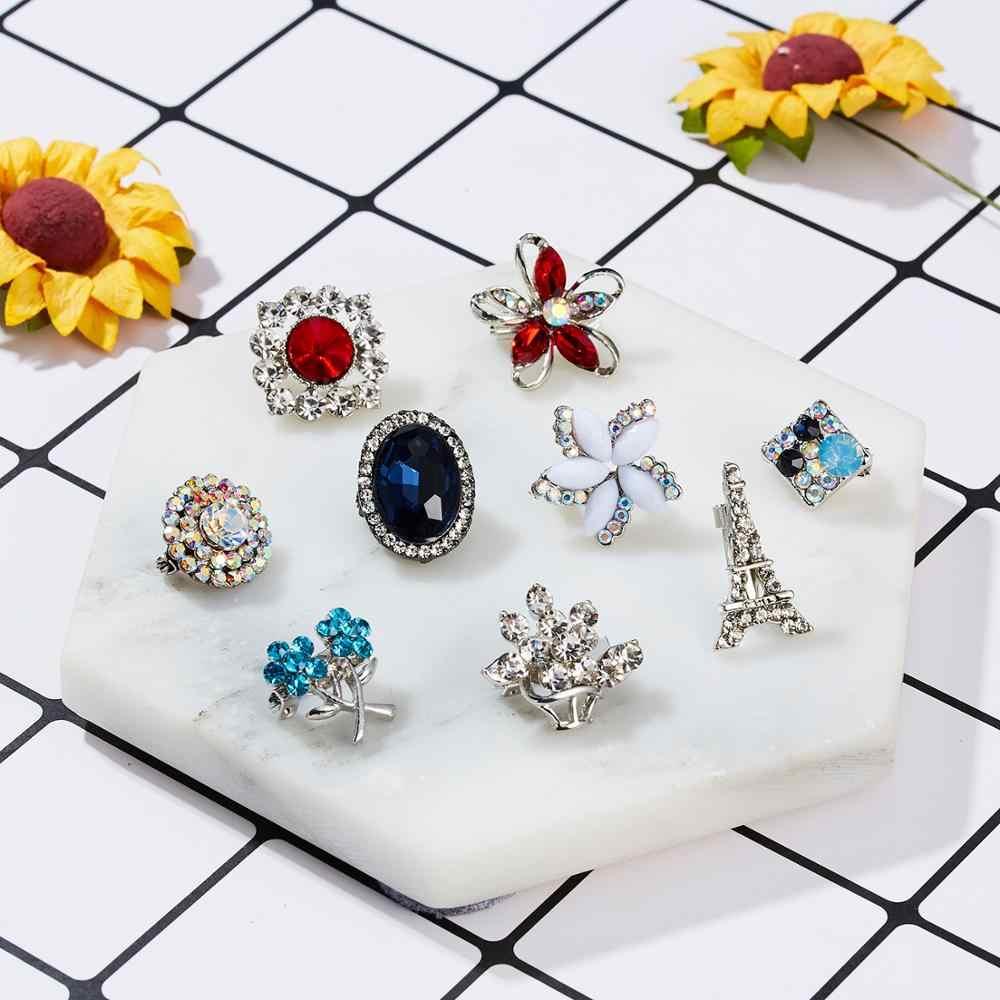 Rinhoo strass argent fleur broches pour femmes hommes mariage mariée fête ronde Bouquet broche broche Vintage mode bijoux