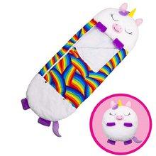 Saco de dormir de unicornio para niños, manta de almohada, saco de dormir cálido con dibujos animados de animales, banderines, regalo para chico