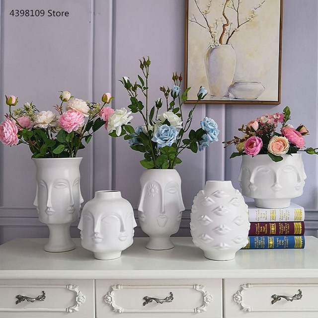 Nordic art ceramic vase creative black and white ceramic face vase decoration home decoration crafts porcelain vase decoration 1