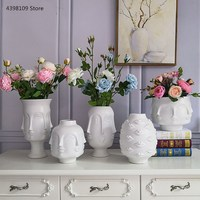 Скандинавское искусство, керамическая ваза, креативная черно-белая керамическая ваза для украшения интерьера, фарфоровая ваза для украшен...