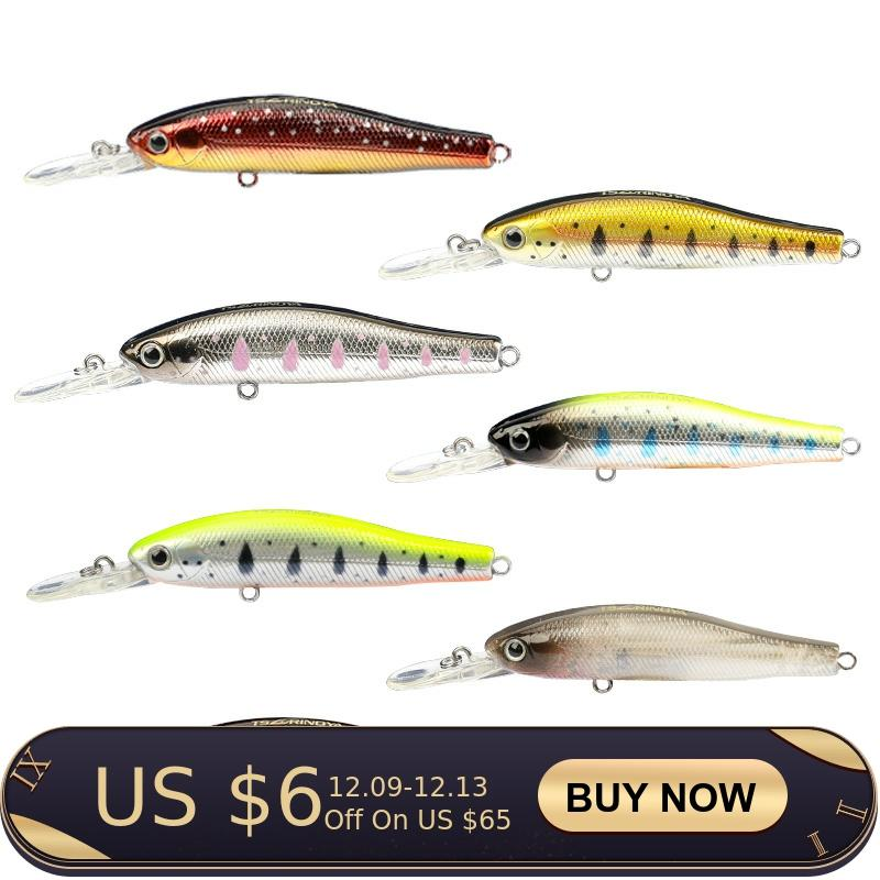 TSURINOYA Suspend Minnow Fishing Lure Suit DW49 65mm 5.5g 5pcs/3pcs Depth 1m Magnet Centrifugal Minnow Floating Lure