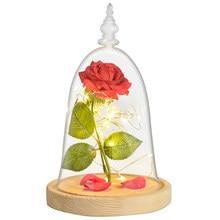 La Bella y La Bestia eterna Rosa flor en recipiente de cristal con LED lámparas para Noche de cumpleaños de San Valentín regalos para madre de las niñas