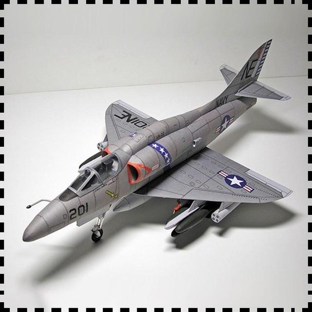 1:33 U.S. A-4 Skyhawk Aircraft DIY Emulational DIY 3D Paper Card Model Building Set Educational Military Model Construction Toys 1