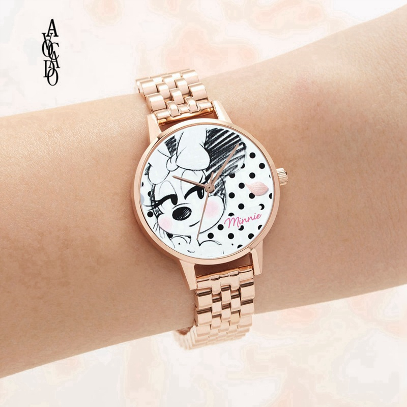Steel Minnie Mouse Women's Watch Fashion Casual Ladies Kids Children Quartz Wristwatch Clock New