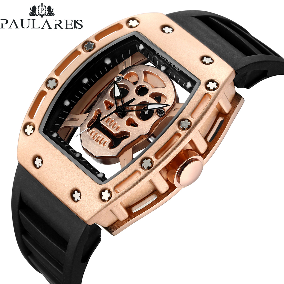 Men Fashion Quartz Rose Gold Silver Black Skeleton Skull Silicone Strap Rectangle Transparent Watch