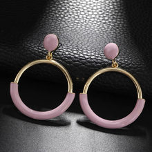 New Korean Style Fashion Jewelry Round Geometric Circle Earrings Simple Design Trendy Accessories Temperament Drop Earrings(China)