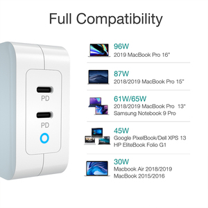 "Image 5 - CHOETECH 100W גן מהיר סוג C מטען עבור MacBook Pro פ""ד 3.0 2 יציאת USB C מטען עבור סמסונג Dell XPS פיקסל 4 QC3.0 מתאם"