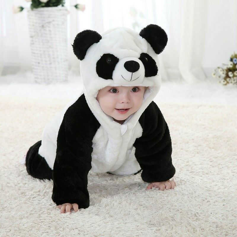 2020 Panda Costume Baby Girl Clothes Black White Cute Hooded Climbing Pajamas Romper Baby Boy Clothing Set