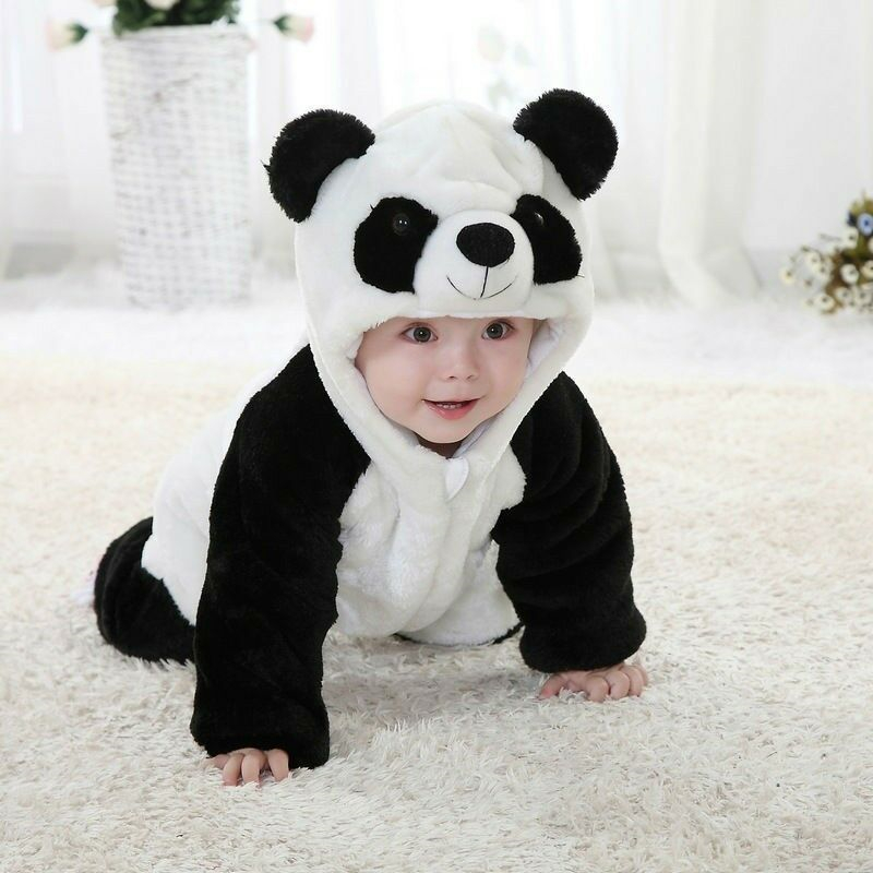 2019 Panda Costume Baby Girl Clothes Black White Cute Hooded Climbing Pajamas   Romper   Baby Boy Clothing Set