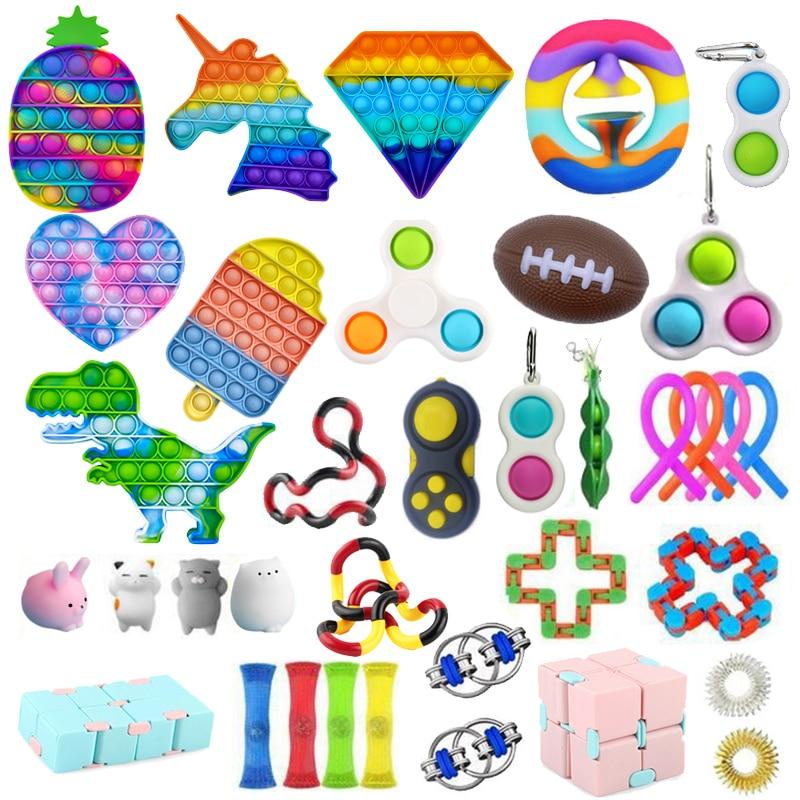 Push Bubble Fidget Toys Anti Stress Set Strings Relief Adults Children Sensory Squishy Antistress Relief Anti