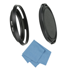 SIOTI Filmy Wide Angle Vented Metal Lens Hood+Cleaning Cloth+Lens Cap for Standard Thread Lens for Nikon for Canon for Sony