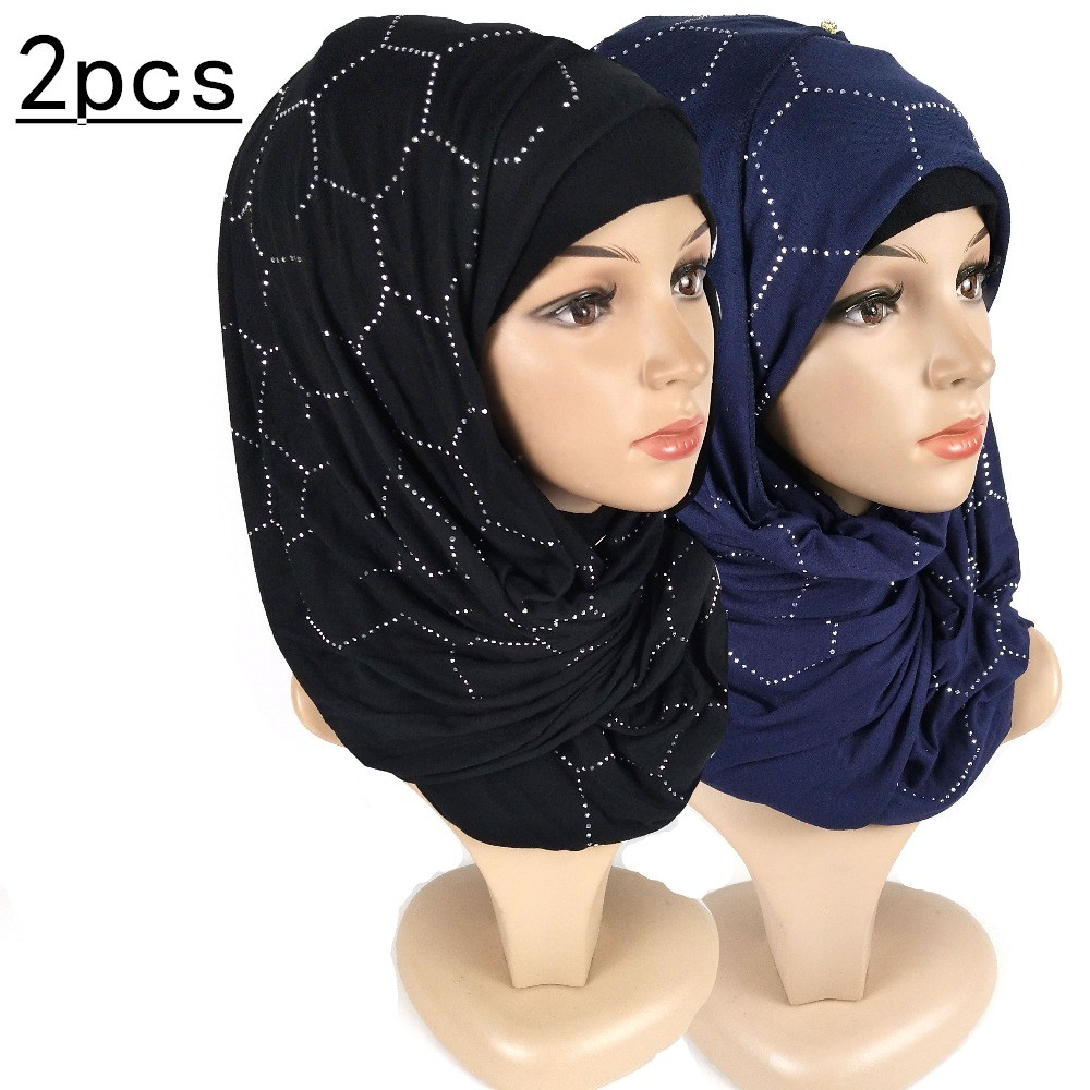H19 2pcs Diamond  Cotton Jersey Hijab Scarf Shawl Women Solid Elasticity Headscarf Muslim Headband Maxi Scarves Wraps
