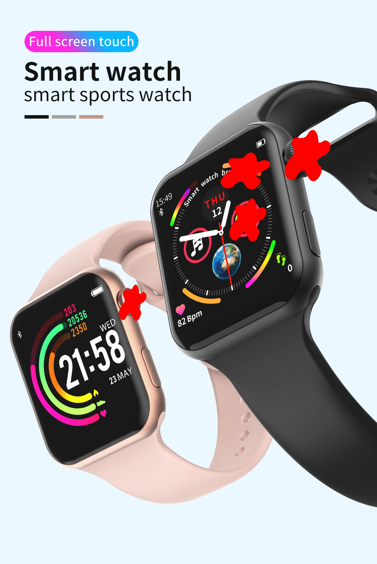 H25d8c2551cdb4115bb924731789e5af7V 696 New Style F10 Smart Watch Full touch screen Bluetooth Smartwatch Music Camera Heart Rate Monitor Waterproof Smart Bracelet
