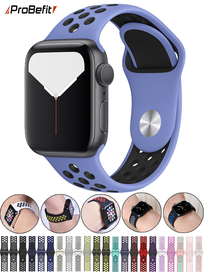 Sports-Band Rubber-Strap Apple Watch 42MM Breathable Silicone 44mm 40mm for 5/4/3/2-1